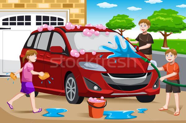 Ojciec dzieci mycia samochodu szczęśliwy pomoc Zdjęcia stock © artisticco
