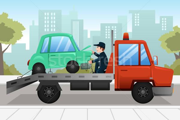 Camión roto abajo coche de trabajo jóvenes Foto stock © artisticco