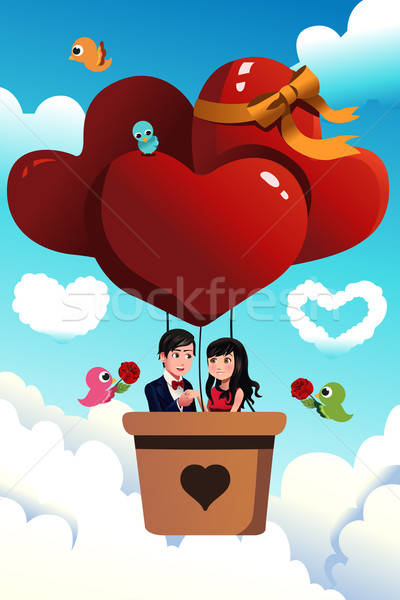 Couple riding a hot air balloon Stock photo © artisticco