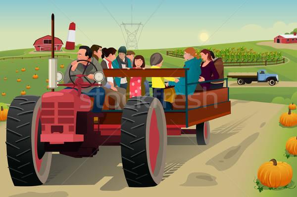 Insanlar çiftlik sezon güz adam çocuklar doğa Stok fotoğraf © artisticco