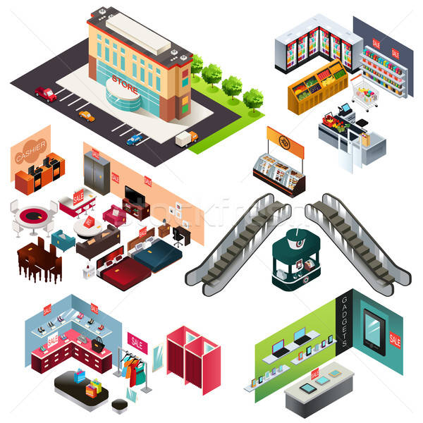 Shopping Mall Isometric Stock photo © artisticco