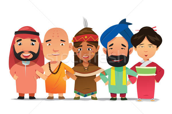 Multi Ethnic People Linking Arms Together Illustration Stock photo © artisticco