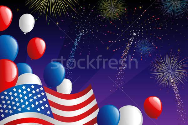 Negyedik tűzijáték ünneplés nyár csillagok zászló Stock fotó © artisticco