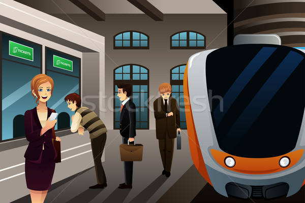 People buying train ticket Stock photo © artisticco