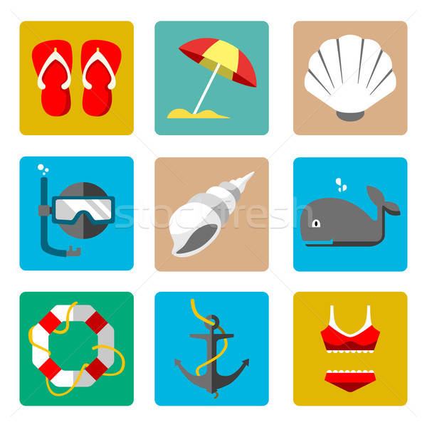 夏 海洋 アイコン アイコン 魚 海 ストックフォト © artisticco
