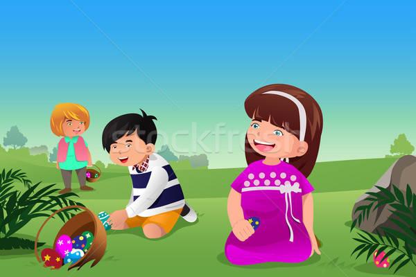 子供 祝う イースター イースターエッグハント 子供 友達 ストックフォト © artisticco