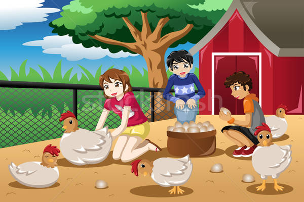 Children collecting eggs from the farm Stock photo © artisticco