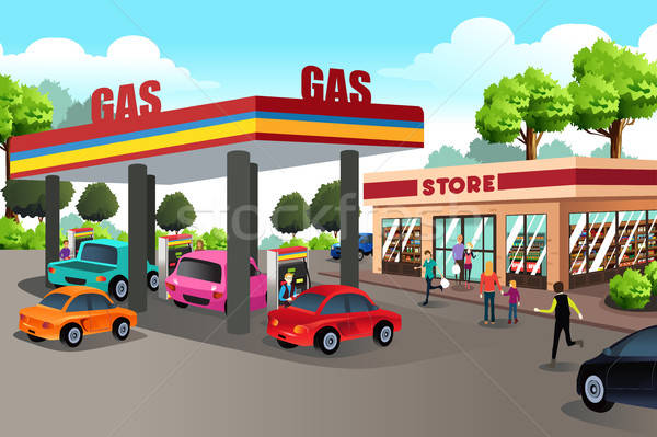 People at Gas Station and Convenience Store Stock photo © artisticco
