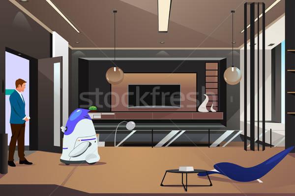 Robot açılış kapı sahip ev adam Stok fotoğraf © artisticco