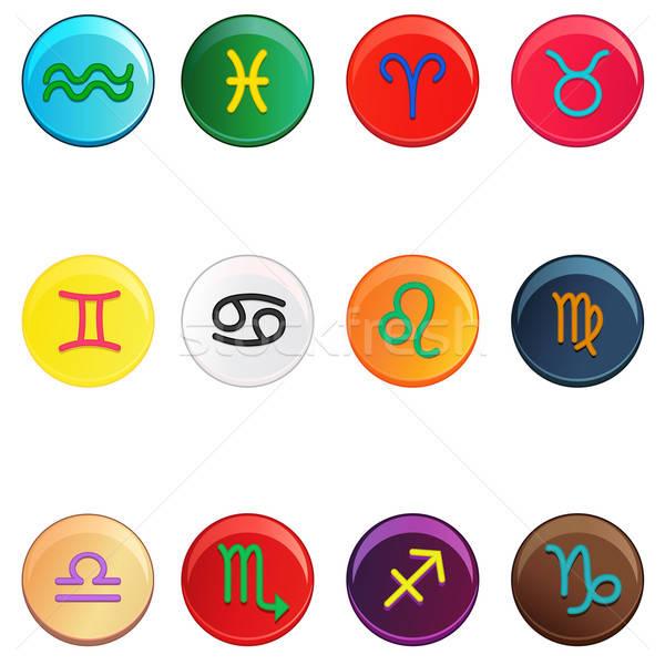 зодиак красочный признаков кнопки круга рак Сток-фото © artisticco