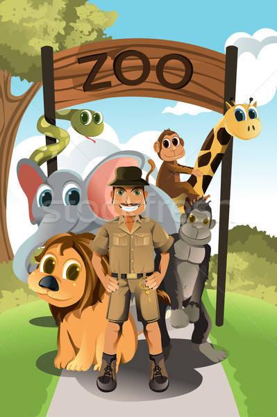 Zookeeper and wild animals Stock photo © artisticco