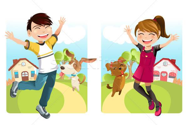 Kids with dog Stock photo © artisticco