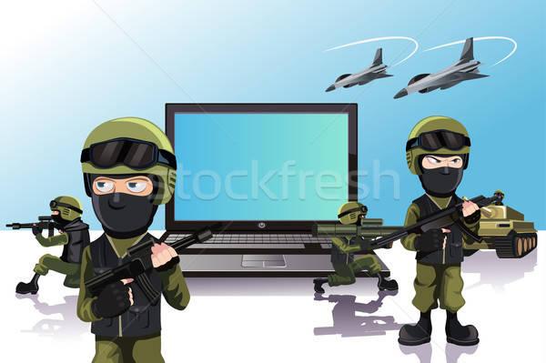 Számítógép védelem hadsereg katonák internet laptop Stock fotó © artisticco