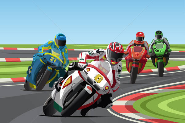 Motorfiets racing sport machine circuit cartoon Stockfoto © artisticco