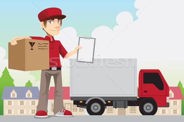 Stanie osoby działalności człowiek ciężarówka polu Zdjęcia stock © artisticco