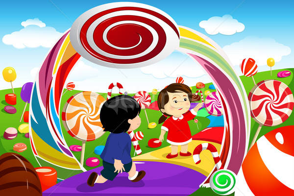Stock photo: Kids playing in a candy land