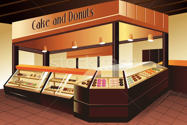 Grocery store: cake and donuts section Stock photo © artisticco