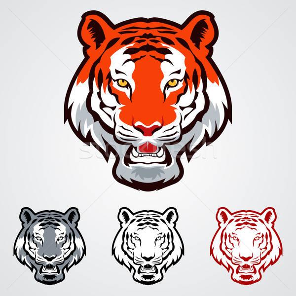 Kaplan simgeler kafa dövme karikatür etiket Stok fotoğraf © artisticco