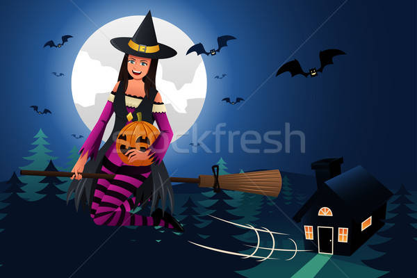 Witch Flying in Front of the Full Moon Stock photo © artisticco