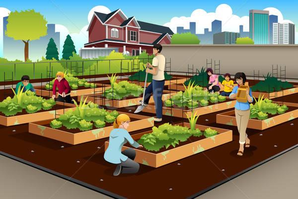 Mensen gemeenschap tuinieren samen meisje glimlach Stockfoto © artisticco
