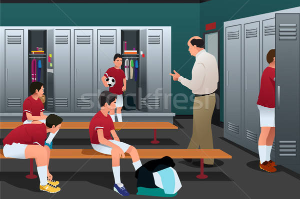 Soccer Coach Talking to the Players in the Locker Room Stock photo © artisticco