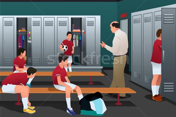 Stock fotó: Futball · edző · beszél · játékosok · szekrényes · öltöző · gyerekek