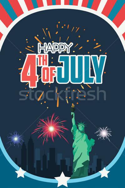 Mutlu dördüncü poster örnek dizayn kırmızı Stok fotoğraf © artisticco