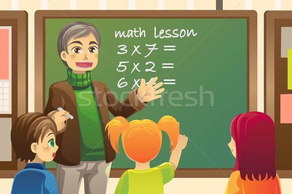 Сток-фото: учитель · классе · преподавания · Math · человека · школы