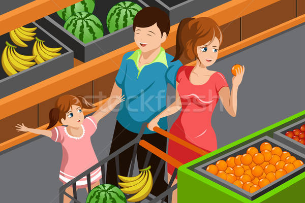 Aile alışveriş bakkal mutlu aile meyve Stok fotoğraf © artisticco