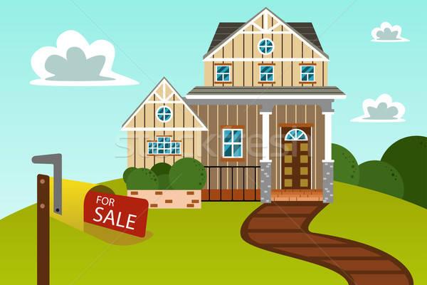 Modern otthon vásár felirat nagy gyönyörű Stock fotó © artisticco