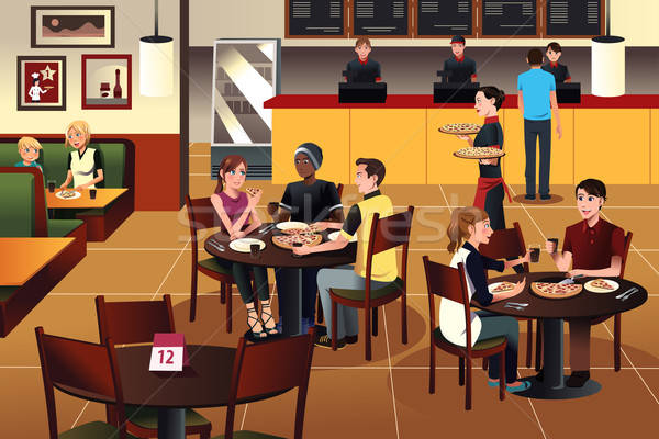 молодые люди еды пиццы вместе ресторан улыбка Сток-фото © artisticco