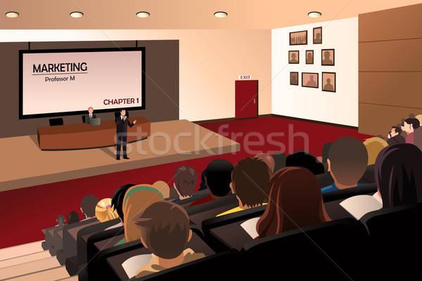 Főiskola diákok hallgat tanár auditórium férfi Stock fotó © artisticco