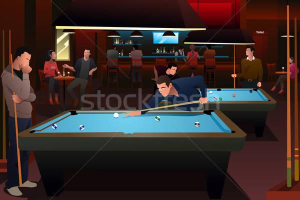 люди играет бильярдных женщину человека бассейна Сток-фото © artisticco
