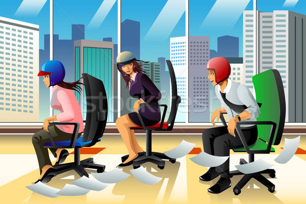 Businesspeople Having a Chair Race Stock photo © artisticco