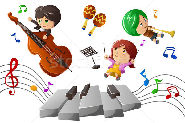 Kids enjoying playing music Stock photo © artisticco