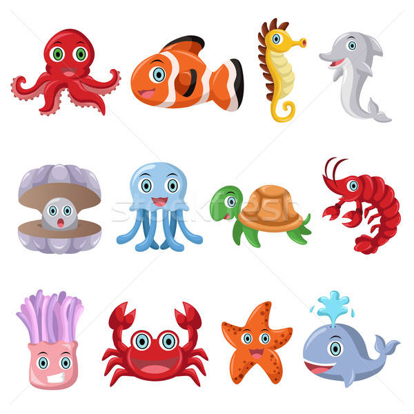 Marine animal icons Stock photo © artisticco