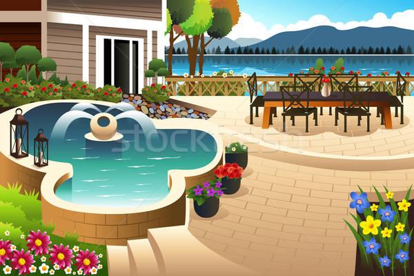 Piękna podwórko ogród kwiaty domu górskich Zdjęcia stock © artisticco