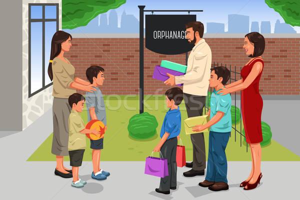 Familie schenking glimlach kinderen man kinderen Stockfoto © artisticco