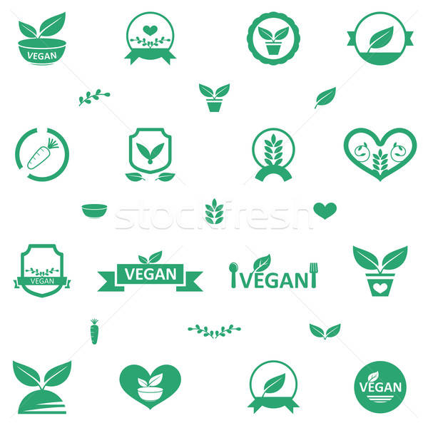 Vegetarian Food Icons Stock photo © artisticco