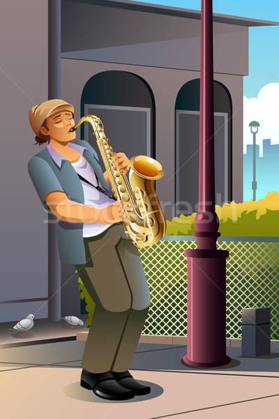 Férfi játszik szaxofon utca rajz életstílus Stock fotó © artisticco
