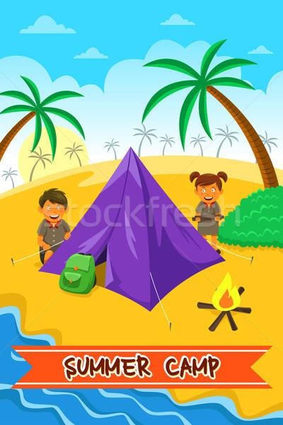 летний лагерь плакат дизайна девушки улыбка детей Сток-фото © artisticco