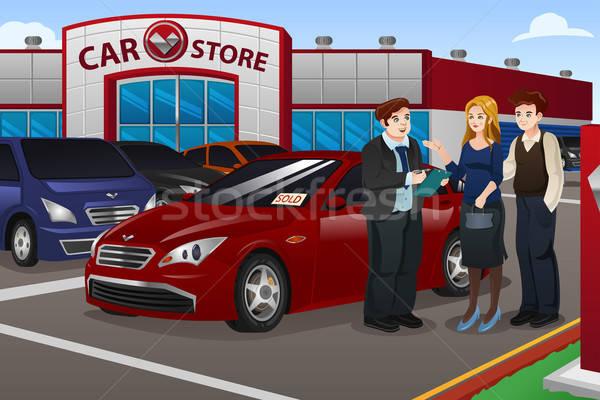 Pareja compra coche nuevo nina coche Foto stock © artisticco