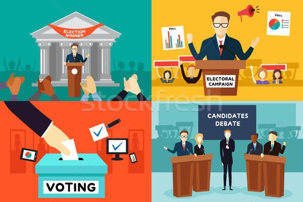 Présidentielle élection affiche cartoon modernes USA Photo stock © artisticco