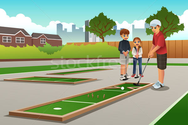 Crianças brincando mini golfe feliz sorrir crianças Foto stock © artisticco