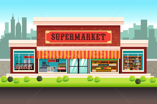 Supermercado mercado tienda dibujo Cartoon Foto stock © artisticco