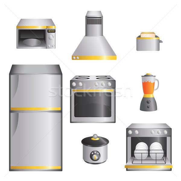 Mutfak aletleri ayarlamak modern buzdolabı fırın yalıtılmış Stok fotoğraf © artisticco