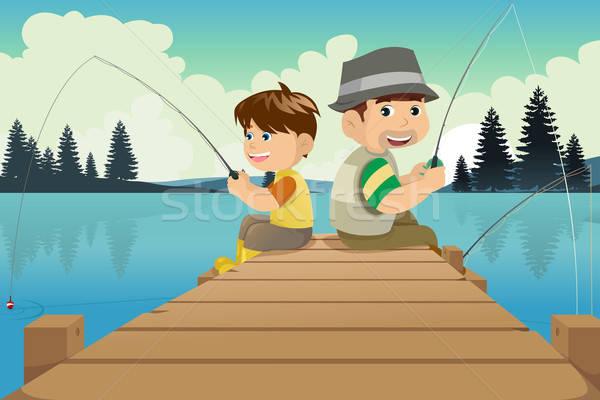 нарисовать я и папа на рыбалке
