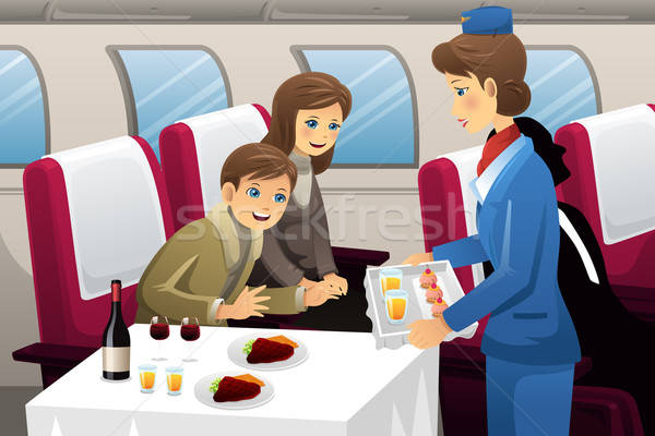 Flight attendant in an airplane Stock photo © artisticco