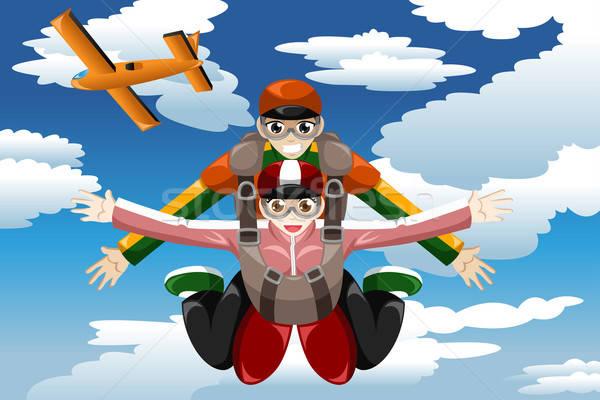 Tandem skydiving mensen man jonge vrouwelijke Stockfoto © artisticco