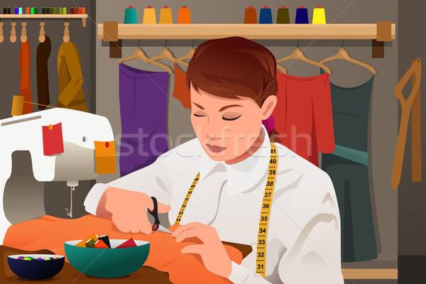 Szabó dolgozik varrógép üzlet fiatal állás Stock fotó © artisticco